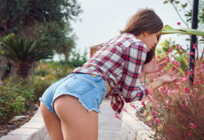lika dolce, brunette, ass, jeans shorts