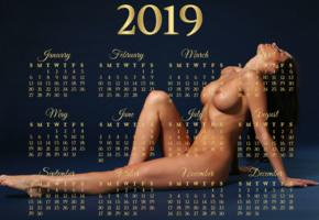 model, brunette, naked, tanned, big tits, boobs, nipples, calendar, 2019, hi-q