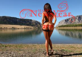 ela, brunette, panties, naked, boobs, ass, water, outdoors, holiday, new year, 2019