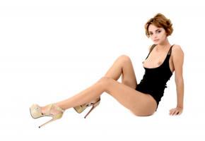 lilit a, ariela, rufina t, model, brunette, undies, bodysuit, tits, boobs, legs, high heels, stilettos, soft focus, puffy nipples, nipples, natellaq