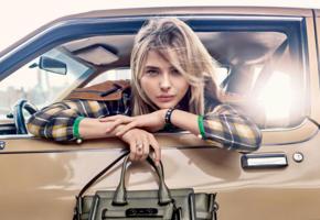 actress, blonde, sensual lips, bag, car, fashion, glamour, face, soft focus, portrait, chloe grace moretz