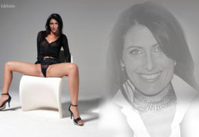 lisa edelstein, high heels, long legs, fake, celebrity fake, house md, see through, boobs, panties, black panties