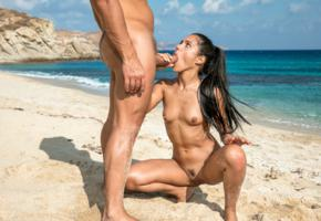 apolonia lapiedra, apolonia, brunette, beach, tanned, naked, man, oral sex, hard cock, small tits, nipples, trimmed bush, pussy, labia, spread legs, hi-q, wet, sea, blowjob, suck dick, dick, cock
