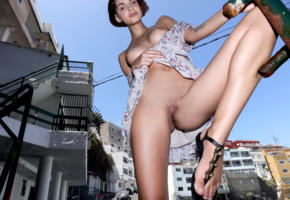 lilit a, ariela, rufina t, model, dark hair, smile, sweet, sensual lips, dress, tits, boobs, pussy, shaved pussy, labia, anus, houses, outdoors, nude