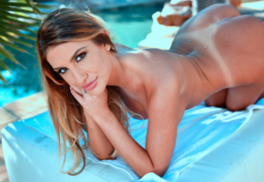august ames, nude, sexy, 4k, tanned, tan lines, ass, doggy