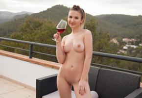 abata, brunette, outdoors, naked, wine, boobs, big tits, perky nipples, shaved pussy, labia, smile, hi-q, anata, laina, mango, vanata