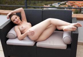 anata, brunette, outdoors, sofa, naked, boobs, big tits, perky nipples, ass, hi-q, laina, mango, vanata