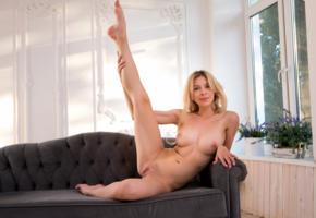eva tali, blonde, sofa, naked, boobs, big tits, nipples, trimmed bush, pussy, labia, spread legs, smile, hi-q, trimmed pussy