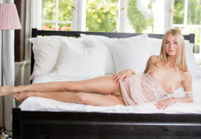 nancy ace, nancy a, jane f, erica, blonde, bed, lingerie, naked, boobs, tits, nipples, landing strip, smile, hi-q, pillows