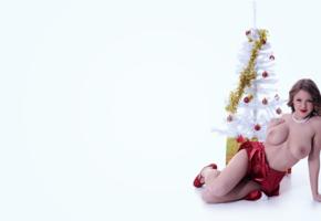 viola bailey, boobs, santa, 4k, brunette, smile, christmas, new year, big tits, nipples, topless
