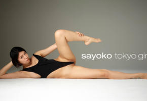 sayoko, asian, leotard, sexy, model, shaved, spreading legs