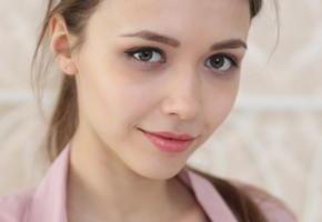 mila azul, portrait, brunette, smile, cute, face