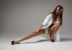girl, sexy, panties, long hairs, beautiful female legs, high heels, sexy pose, shirt, liya silver, white panties, legs, brunette, tattoo
