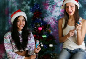 vika, kamilla, merry christmas, brunette, 2 girls, non nude, christmas, jeans