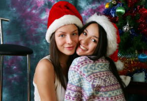 vika, kamilla, brunette, 2 girls, non nude, christmas, face, lips