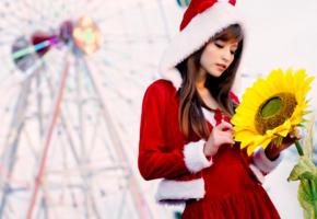 model, asian, brunette, sensual lips, santa, flower, sunflower, christmas, xmas, soft focus