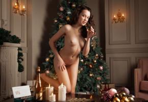 marla o, uliana, ulia, brunette, sexy girl, tits, hi-q, christmas, christmas tree, naked, boobs, nipples, nude, champagne, hairy