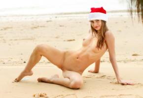 anya, christmas, boobs, tits, nipples, smile, beach, sea, nude, shaved pussy, labia, pussy, irina buromskih