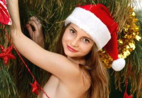 anya, christmas, smile, red lips, irina buromskih