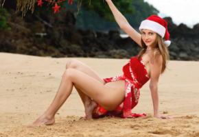 anya, christmas, smile, beach, irina buromskih