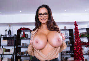 busty, brunette, big tits, christmas, nipples, smile, glasses, ava addams