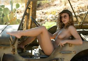 alice antoinette, dirty blonde, army jeep, desert, cactus, naked, boobs, tits, nipples, helmet, sunglasses, hi-q