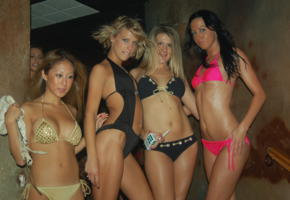 4 babes, teens, bikini, contest, tanned