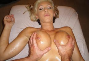 blonde, boobs, squeezing, big tits, tanned, nipples, handbra, massage, oiled