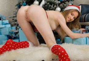 monika, ass, pussy, labia, smile, christmas, christmas tree, anus, doggy, tits, knee socks