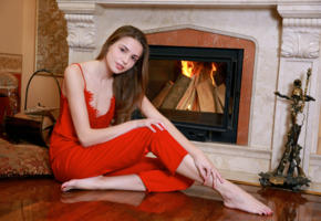 elle tan, cute, brunette, teen, fireplace, pale skin, non nude