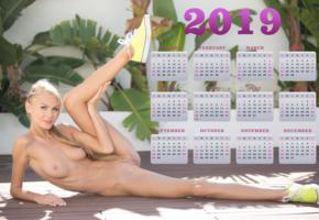 nancy ace, nancy a, jane f, erica, blonde, outdoors, naked, boobs, tits, nipples, landing strip, pussy, labia, spread legs, running shoes, 2019, calendar, smile, hi-q