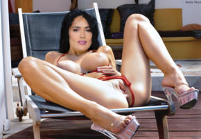 salma hayek, black hair, long hair, spreading legs, heels, platform heels, big tits, shaved pussy, labia, fake, bikini, feet