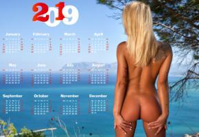 brigitta, blonde, outdoors, naked, tanned, pussy, ass, tattoo, 2019, calendar