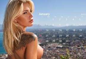 brigitta, blonde, outdoors, naked, tanned, boobs, big tits, nipples, tattoo, january, calendar
