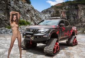 katya clover, clover, mango, caramel, mango a, brunette, vehicle, mitsubishi, triton, 2018, mountains, naked, tanned, boobs, tits, nipples, shaved pussy, labia, smile, hi-q