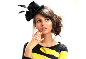 victoria justice, brunette, hat, dress, posing