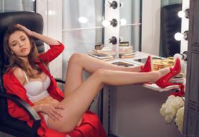 mila azul, brunette, lingerie, bra, white bra, sexy legs, red heels, white lingerie, books, mirror, legs, high heels, non nude