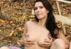 brunette, nude, forest, autumn, boobs, big tits, nipples, tanned, handbra, smile, nadia p, susi r, suzanna, suzanna a