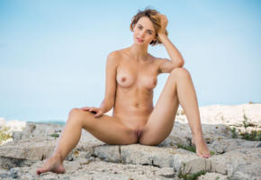 ariel, lilit a, ariela, rufina t, brunette, beach, naked, tanned, boobs, tits, nipples, shaved pussy, labia, spread legs, smile, hi-q