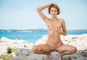 ariel, lilit a, ariela, rufina t, brunette, beach, tanned, naked, boobs, tits, nipples, shaved pussy, labia, spread legs, squatting, smile, hi-q, sea