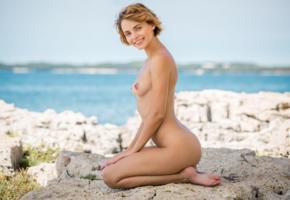 ariel, lilit a, ariela, rufina t, brunette, beach, tanned, naked, boobs, tits, nipples, ass, smile, hi-q, sea