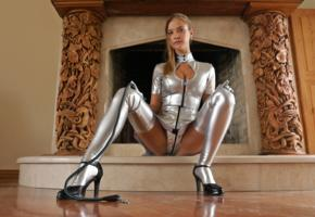 sophia k, slim, blonde, russian, model, shiny clothes, little mistress, tight clothes, pvc, high heels, fetish babe, whip, stockings, legs