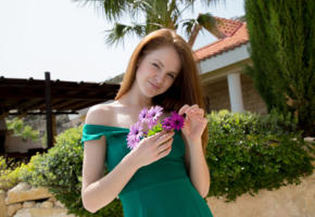 alice may, cute, redhead, teen, dress, outdoors, flowers, green dress, non nude