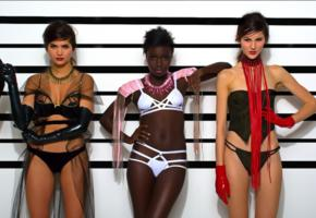 3 babes, caucasian, ebony, sexy dressed, arrested, girls, models, lingerie, corset, gloves, erotic, hi-q, panties, sexy, lingerie series