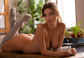 calypso, playboy, brunette, tanned, smiling, tits, boobs, nipples, knee socks, ass, calypso muse, tatiana farnese, tatianita, plants