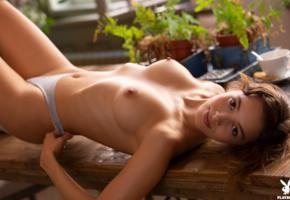 calypso, playboy, topless, panties, boobs, tits, nipples, tanned, brunette, smiling, calypso muse, tatiana farnese, tatianita, plants