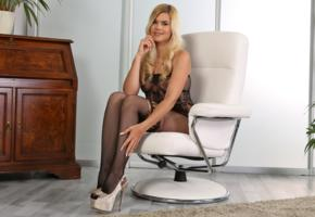 jenny anne, blonde, young, sexy babe, long hair, smile, fishnet, bodystocking, long legs, high heels, erotic