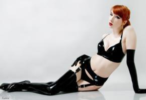 unknown, redhead, slim, fetish model, tight clothes, bra, garterbelt, stockings, gloves, red lips, legs
