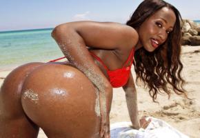 sapphira chanel, ebony, erotic, pornactress, american, cuty, nice rack, sexy ass, outdoor, beach, water, sand