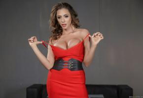 ariella ferrera, milf, big tits, undressing, red dress, dress, ariella, ariella ferrara, ella ferrera